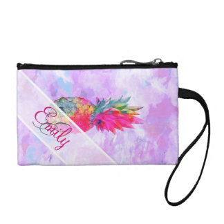 Monogram Bright Neon Pineapple Tropical Watercolor Coin Wallets