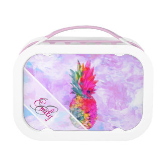 Monogram Bright Neon Pineapple Tropical Watercolor Lunch Box