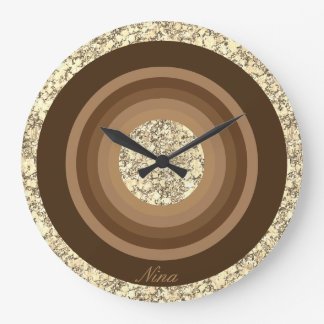 Monogram Brown And Beige Gradient Glitter Large Clock
