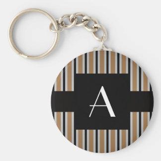 Monogram Brown and black stripes Keychains