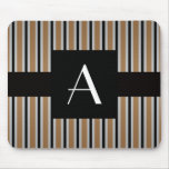 Monogram Brown and black stripes Mouse Pad
