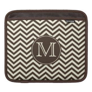 Monogram Brown and Cream Chevron iPad Sleeve