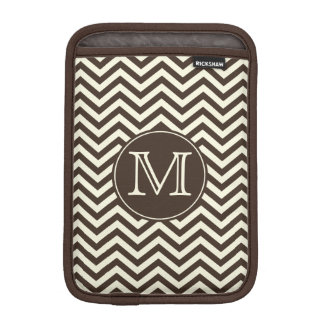 Monogram Brown and Cream Chevron iPad Mini Sleeves