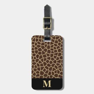 Monogram Brown Beige Giraffe Animal Geometric Luggage Tag