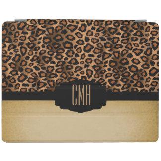 Monogram Brown & Black Leopard Animal Pattern iPad Cover