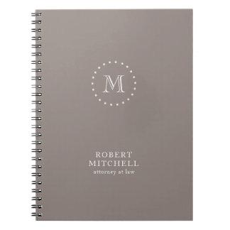 Monogram Brown Elegant Professional 80 p Notebook