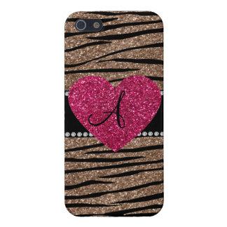 Monogram brown glitter zebra stripes pink heart iPhone 5/5S cover