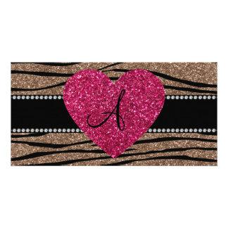 Monogram brown glitter zebra stripes pink heart photo card template