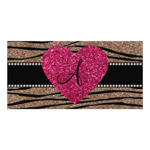 Monogram brown glitter zebra stripes pink heart photo cards