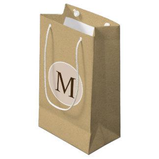 Monogram Brown Kraft Paper Texture Small Gift Bag