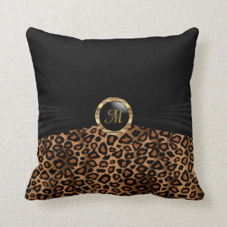Monogram Brown Leopard Animal Pattern Cushion