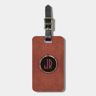 Monogram Brown Suede Leather Floral Design Luggage Tag