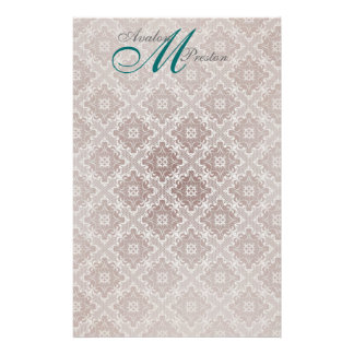 Monogram Brown Teal Lace Wedding Stationery