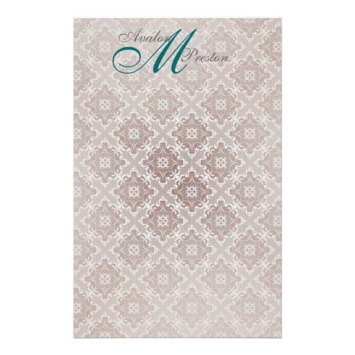 Monogram Brown & Teal Lace Wedding Stationery