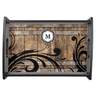 Monogram Brown Weathered Wood Swirly Pattern Serving Tray