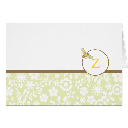 Monogram Bumble Bee Note or Thank You Card
