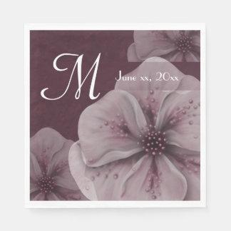 Monogram Burgundy Floral Disposable Serviette