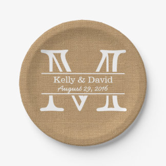 Monogram Burlap Texture Rustic Wedding Paper Plate