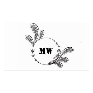 Monogram Business Card with Flower Zentangle