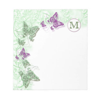 monogram butterfly country floral swirl notepad