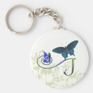 Monogram Butterfly Fantasy J Basic Round Button Key Ring