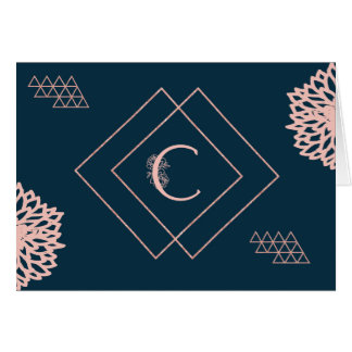 """Monogram """"C"""" Card in Navy and Pink"""