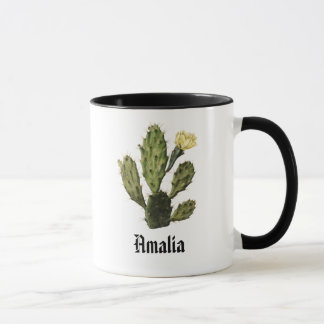 Monogram Cactus Flower Vintage Mug