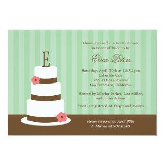 Monogram Cake Bridal Shower Invitation - Green Announcement