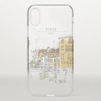 Monogram. Canals of Venice Italy Europe. iPhone X Case