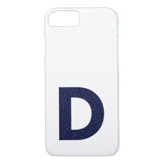 Monogram Capital D with Faux Glitter iPhone 7 Case