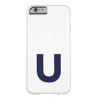 Monogram Capital U with Faux Glitter Barely There iPhone 6 Case
