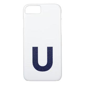 Monogram Capital U with Faux Glitter iPhone 7 Case
