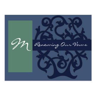 Monogram Cards - Blue Postcard