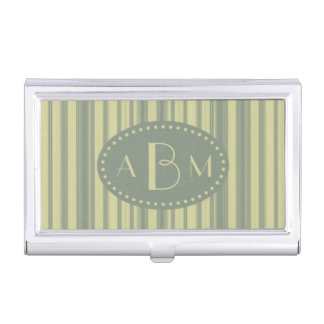 Monogram Celery and Sage Green Stripe Business Card Holder