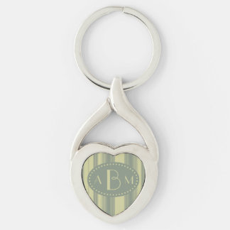 Monogram Celery and Sage Green Stripe Silver-Colored Twisted Heart Key Ring