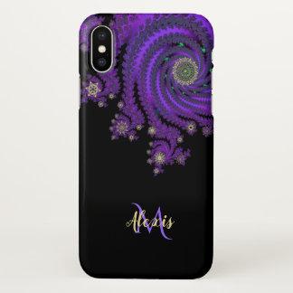 Monogram Celtic Purple Fractal iPhone X Case