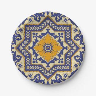 Monogram Ceramic Azulejo Style Blue Paper Plate
