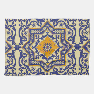 Monogram Ceramic Azulejo Style Blue Towel