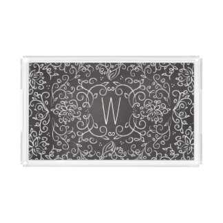 Monogram Chalk Black and White Filigree Acrylic Tray