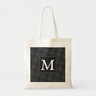 Monogram charcoal circles pattern tote bag