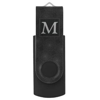 Monogram charcoal circles pattern USB flash drive