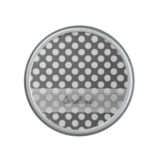 Monogram Charcoal Gray White Polka Dot Pattern Bluetooth Speaker