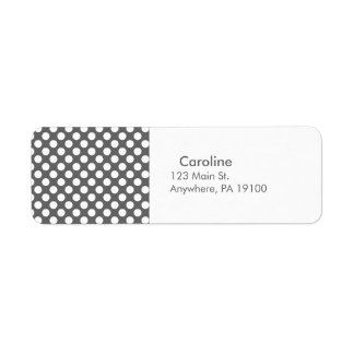 Monogram Charcoal Gray White Polka Dot Pattern Return Address Label