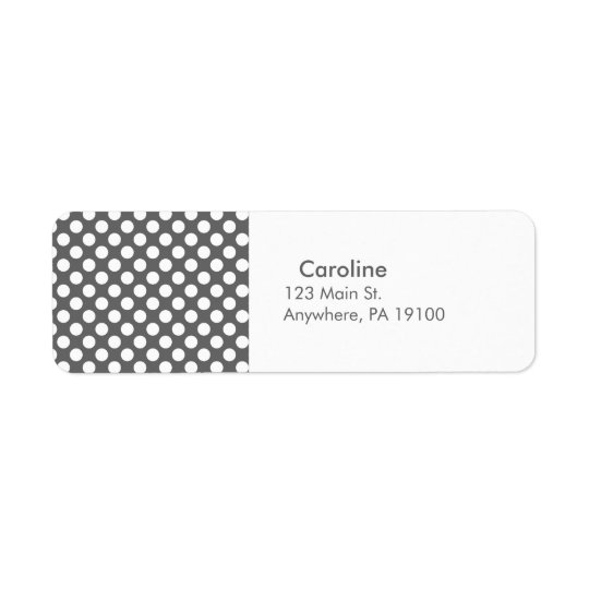 Monogram Charcoal Grey White Polka Dot Pattern Return Address Label