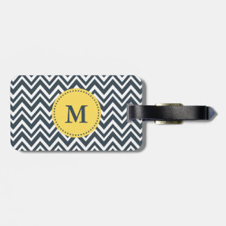 Monogram Charcoal, White and Yellow Zigzag Pattern Luggage Tag