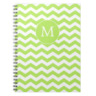 Monogram Chartreuse Green Chevron Notebook