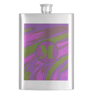 Monogram chartreuse green purple pink Color Swish Hip Flask