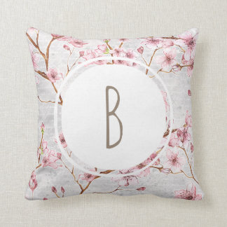 Monogram Cherry Blossoms Cushion