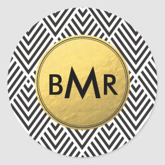 Monogram Chevron Argyle with Gold Faux Foil Classic Round Sticker