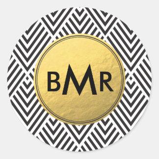Monogram Chevron Argyle with Gold Faux Foil Round Sticker
